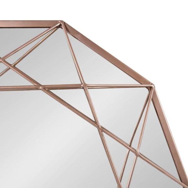 Kate And Laurel Keyleigh Round Rose Gold Metal Wall Mirror 215152 The Home Depot