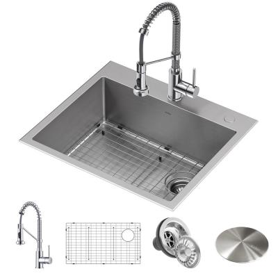 Loften All-in-One Dual Mount Drop-In Stainless Steel 25in. Single Bowl Kitchen Sink with Pull Down Faucet in Chrome