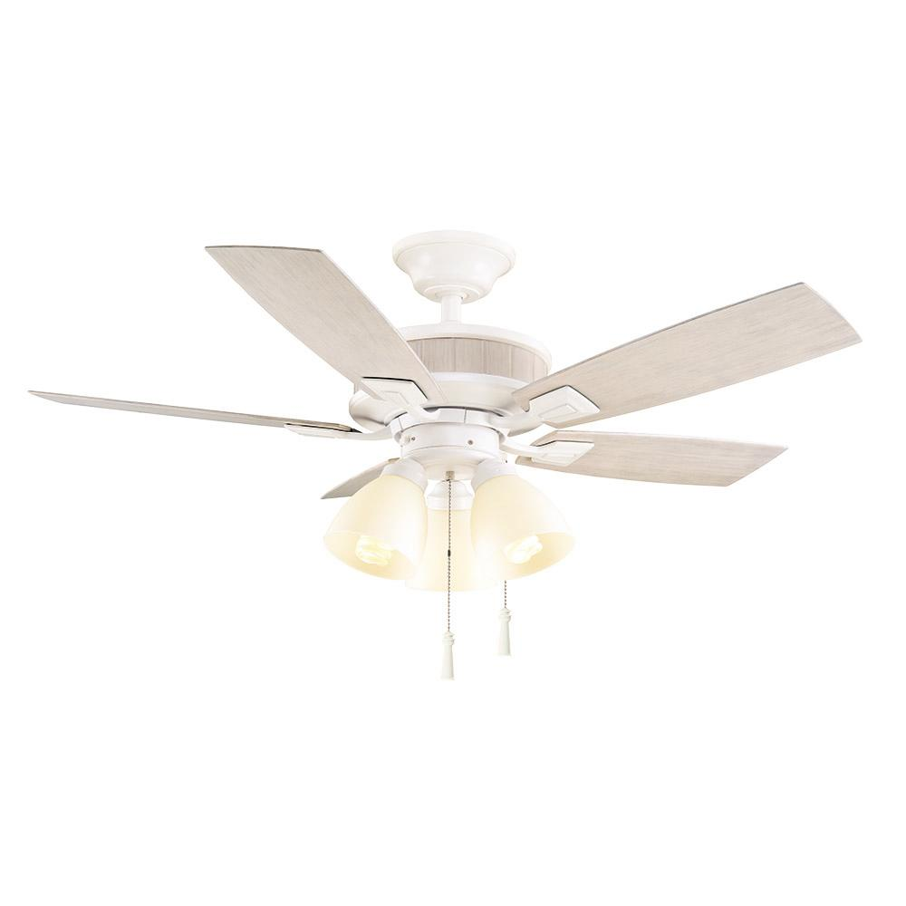 Led Indoor Matte White Ceiling Fan With Light
