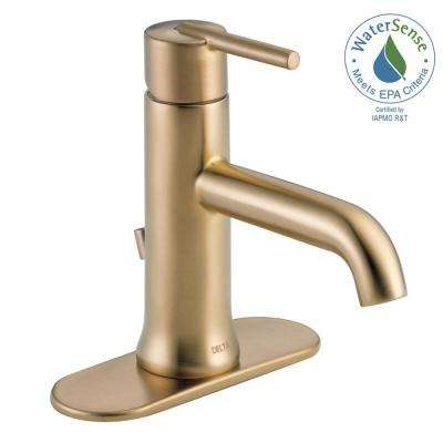 Trinsic Single Hole Single Handle Bathroom Faucet With Metal Drain Assembly  In Champagne Bronze
