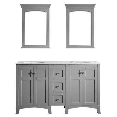Arezzo 60 in. W x 22 in. D x 36 in. H Vanity in Grey with Marble Vanity Top in Carrara White with White Basin and Mirror