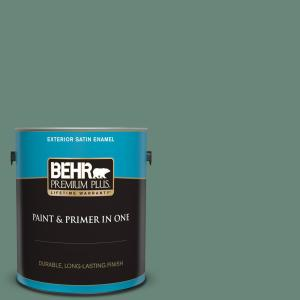 Behr Premium Plus 1 Gal S420 5 Sycamore Grove Satin Enamel Exterior Paint And Primer In One 934001 The Home Depot