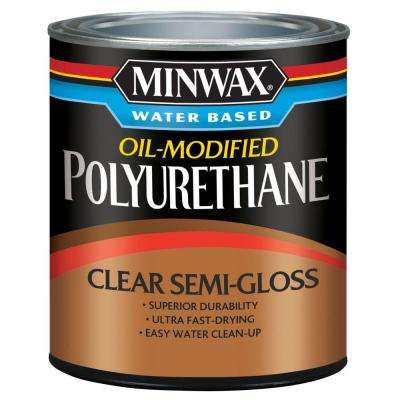1 qt. Clear Semi-Gloss Water Based Oil-Modified Polyurethane (4-Pack)