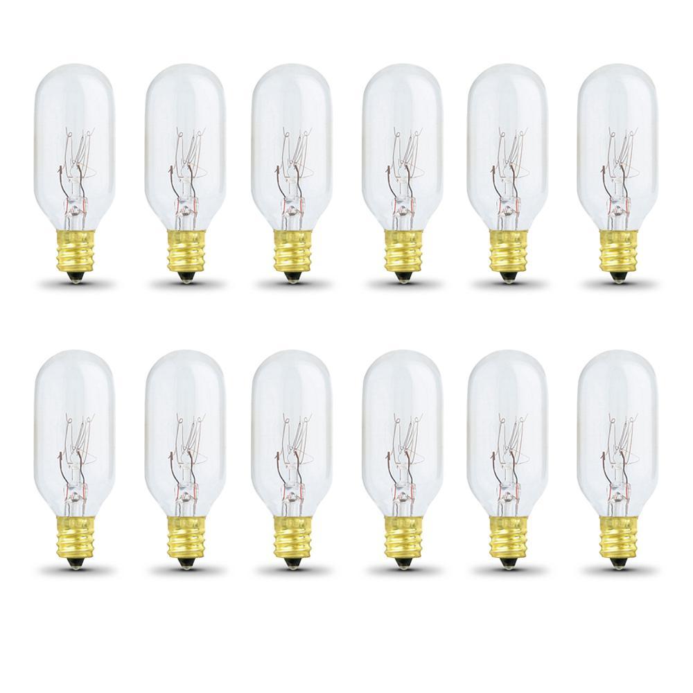 40-Watt Soft White (2700K) T8 Intermediate E17 Base Dimmable Incandescent Appliance Light Bulb (12-Pack)