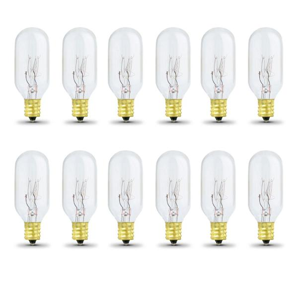 Feit Electric 40 Watt Soft White 2700k T8 Intermediate E17 Base Dimmable Incandescent Appliance Light Bulb 12 Pack Bp40t8n Hdrp 12 The Home Depot