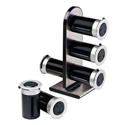 Zero Gravity 6-Canister Countertop Magnetic Spice Stand in Black/Silver
