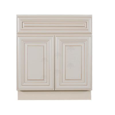 Princeton Assembled 30 in. W x 21 in. D x 33 in. H Vanity with 2-Doors Creamy White Glazed