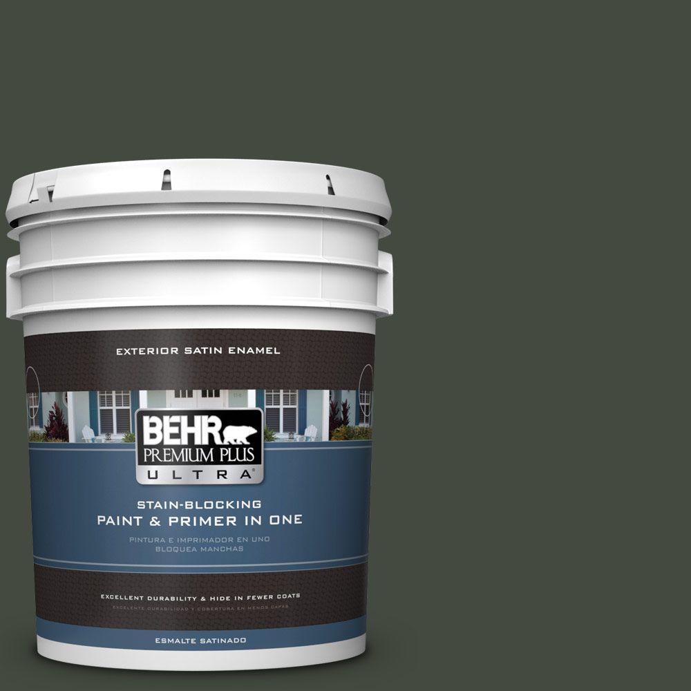 BEHR Premium Plus Ultra 5-gal. #BXC-12 Deep Forest Satin Enamel Exterior Paint