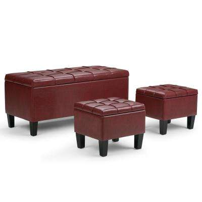 Dover Radicchio Red 3-Piece Ottoman Bench