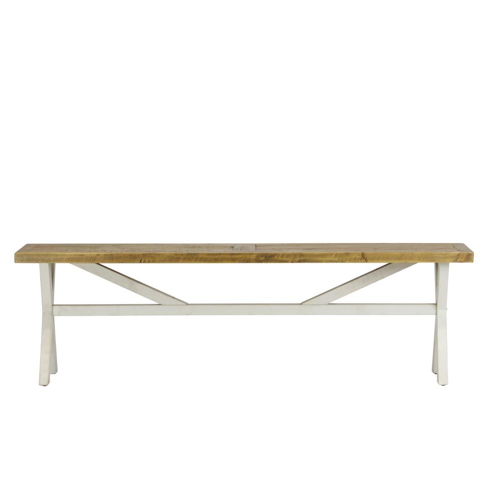 Lux Home Byron Distressed White Solid Reclaimed Wood Bench