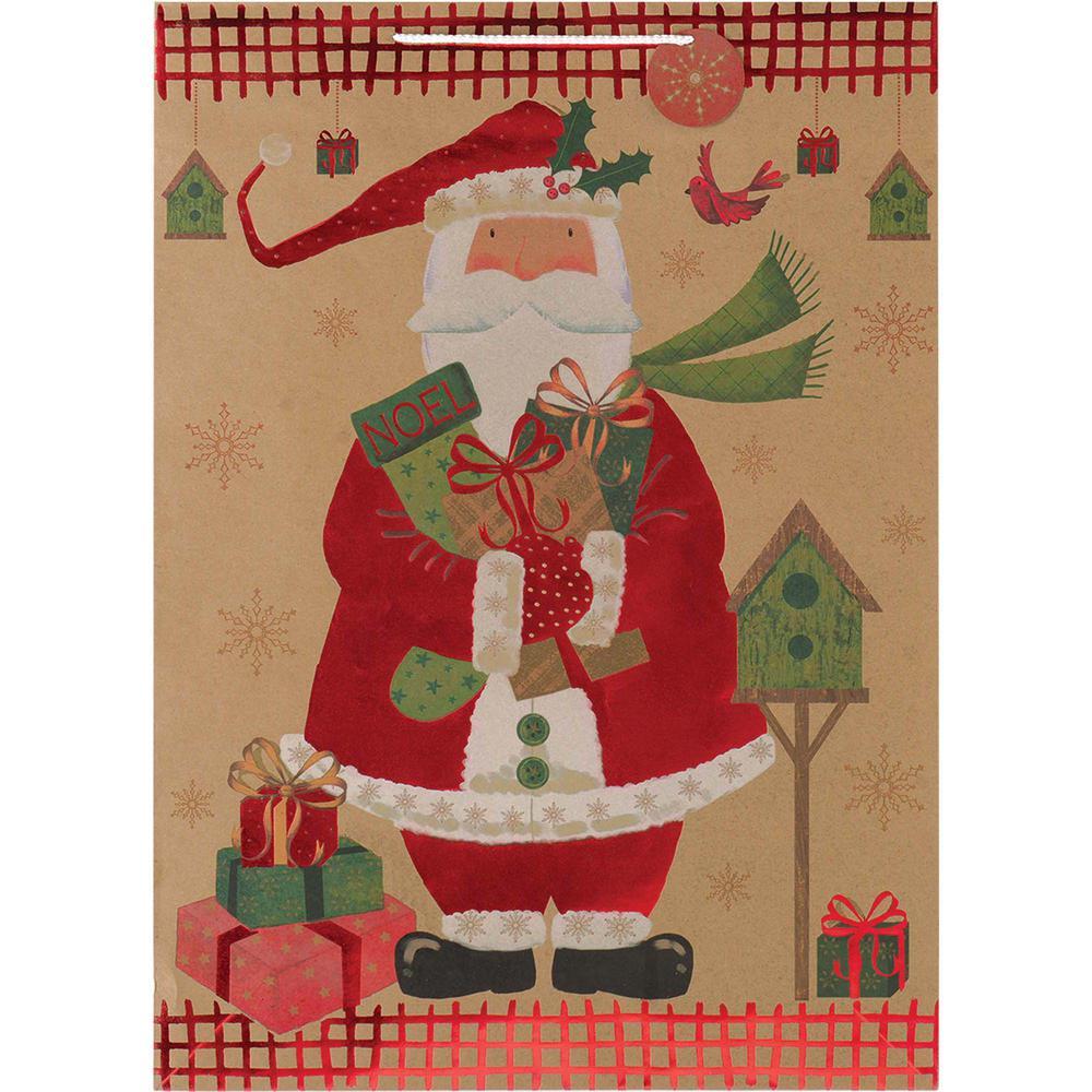 28 in. x 20 in. x 7 in. Santa Hot Stamped Jumbo Kraft Bags (5-Pack)