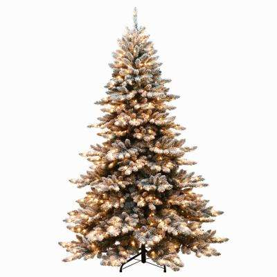 7.5 ft. Pre-Lit Flocked Princess Spruce Artificial Christmas Tree with 700 UL Listed Clear Lights
