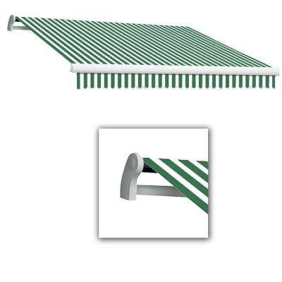 14 ft. Maui-AT Model Left Motor Retractable Awning (120 in. Projection) in Forest Green/White