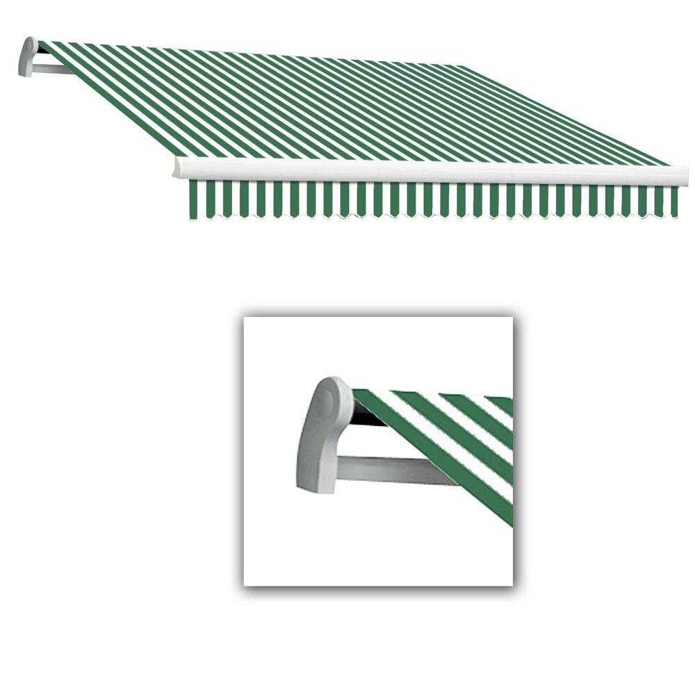 AWNTECH 16 ft. Maui-LX Left Motor Retractable Acrylic Awning with Remote (120 in. Projection) in Forest/White