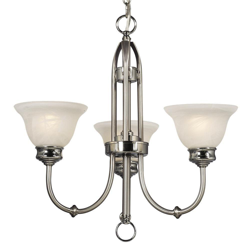 Negron 3-Light Brushed Nickel and Polished Chrome Incandescent Chandelier