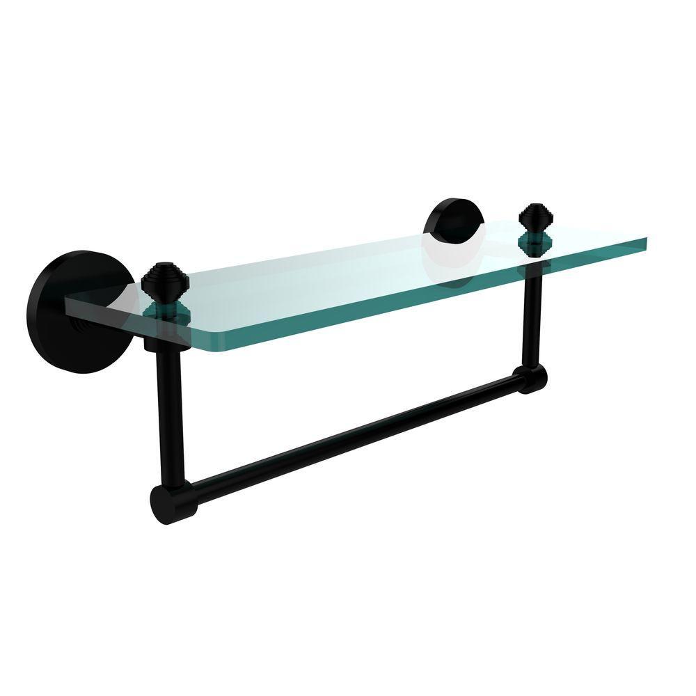 Southbeach 16 in. L  x 5 in. H  x 5 in. W Clear Glass Vanity Bathroom Shelf with  Towel Bar in Matte Black