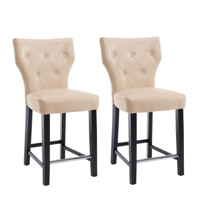 Kings 25 in. Cream Bonded Leather Bar Stool (Set of 2)
