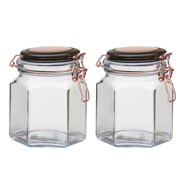 Amici Home Adler 32 oz. 2-Piece Glass Hermetic Canister with Copper
