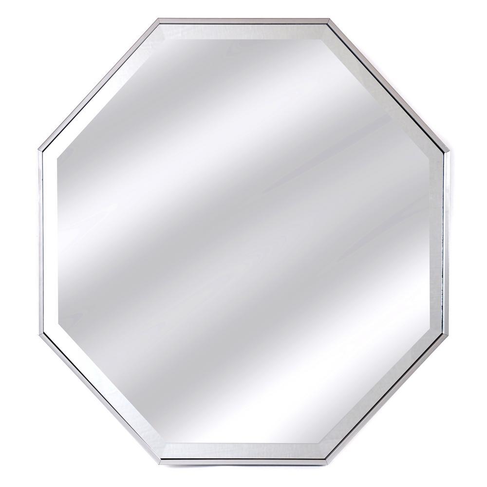 Silver Framed Octagon Beveled Mirror