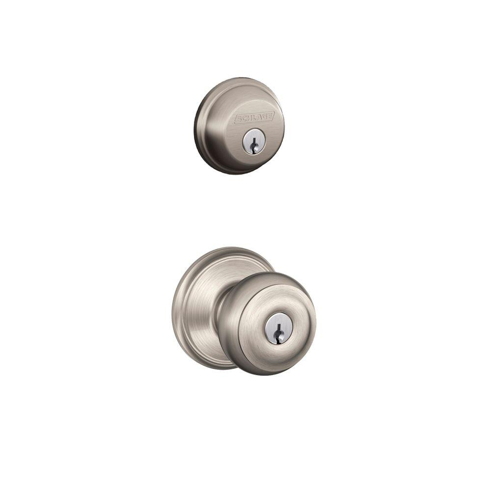 Schlage satin nickel single cylinder deadbolt with for Exterior door knobs