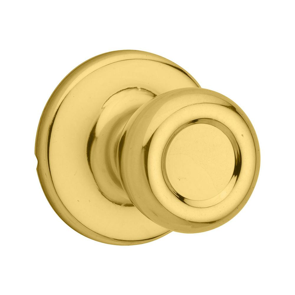 Kwikset Tylo Polished Brass Passage Hall/Closet Door Knob Featuring Microban Antimicrobial Technology
