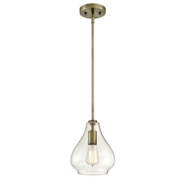 Wes 1-Light Antique Brass Mini Pendant with Clear Glass Shade