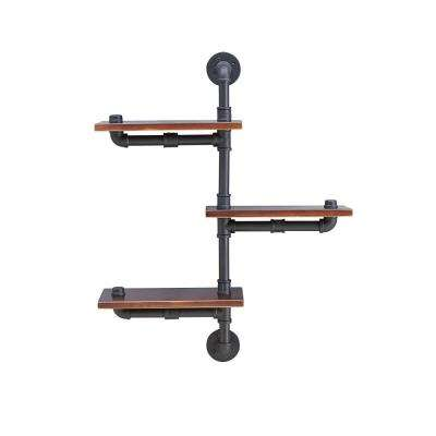 3-Shelf 24 in. x 8 in. Floating Staggered Industrial Rustic Pipe Wall Mount Shelving Unit