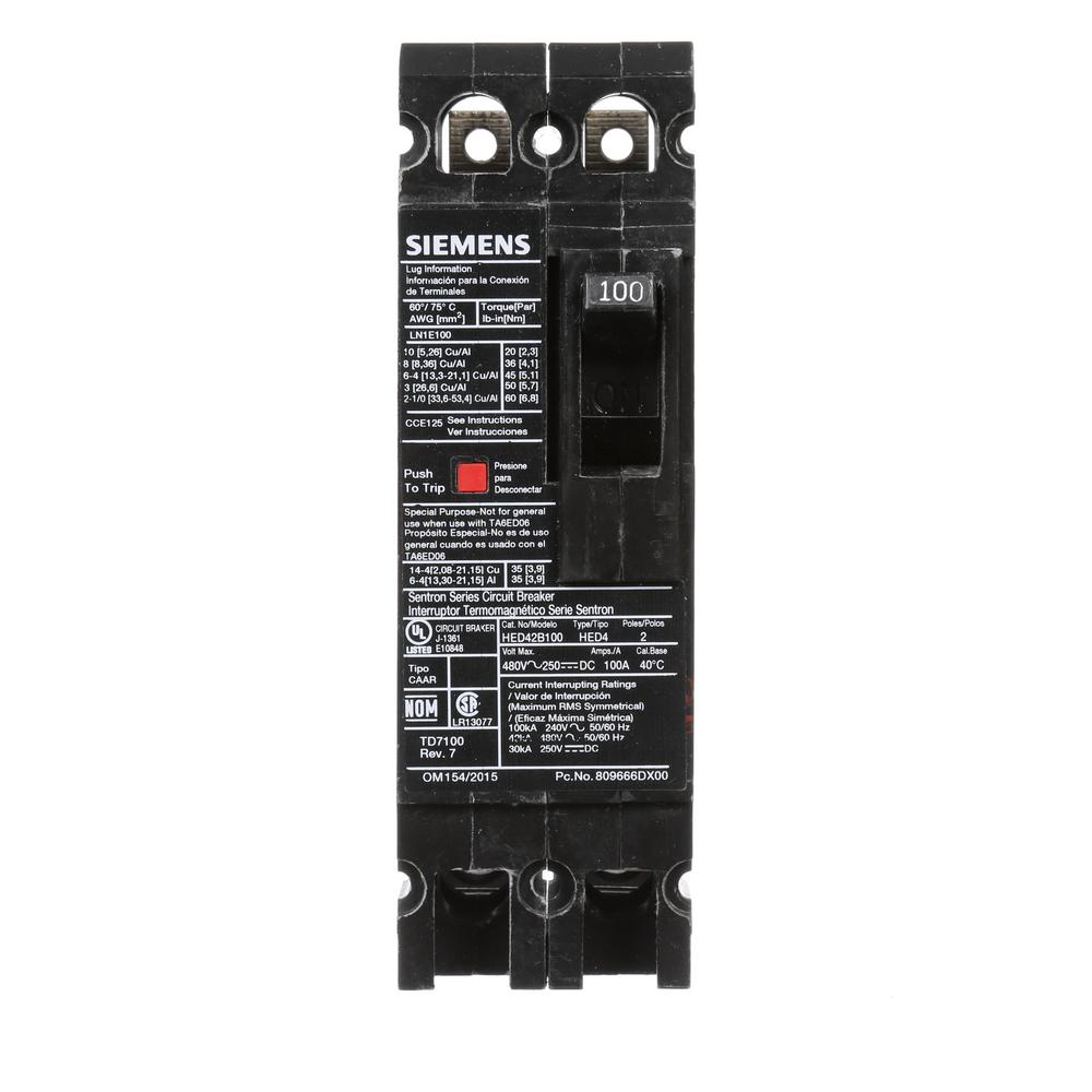 2 Pole Breakers Circuit The Home Depot Wiring Diagram On 3 Wire 220 Single Phase Breaker 100 Amp Type Ed 42 Ka