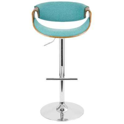 Curvo Walnut and Teal Adjustable Barstool