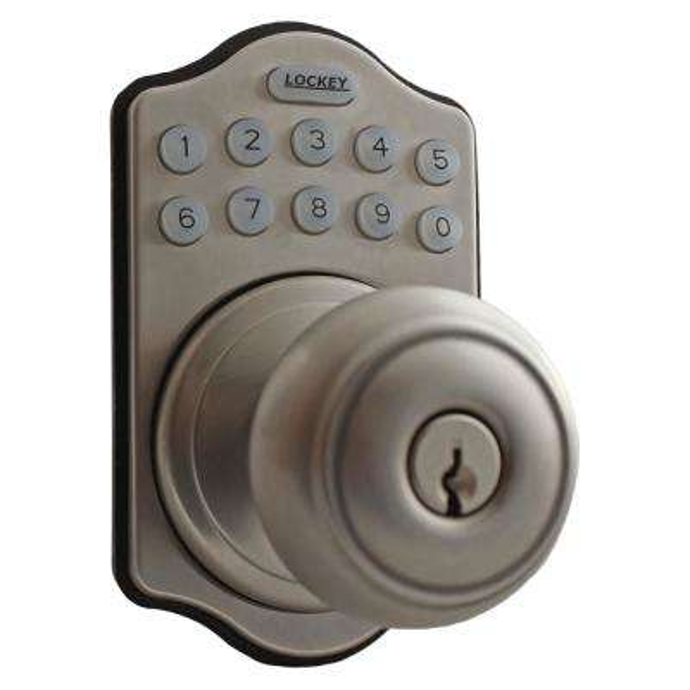 E-Digital Satin Nickel Single Cylinder Entry Keypad Electronic Door Knob with Latch Lock
