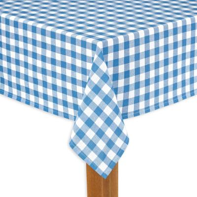 Buffalo Check 52 in. x 70 in. Navy 100% Cotton Tablecloth for Any Table