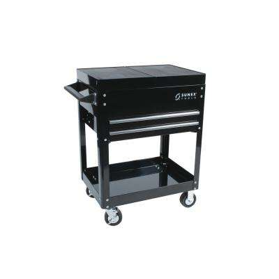 23 in. 2-Drawer Slide Top Utility Cart in Black
