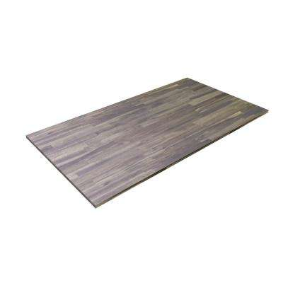 6 ft. 2 in. L x 3 ft. 4 in. W x 1 in. T Butcher Block Countertop in Oiled Acacia with Dusk Grey Wood Oil Stain