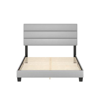 Luna Grey Faux Leather Upholstered Queen Platform Bed Frame with Slat System