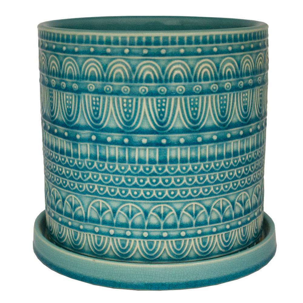 Trendspot 8 in. Dia Aqua Seven Seas Cylinder Ceramic Planter