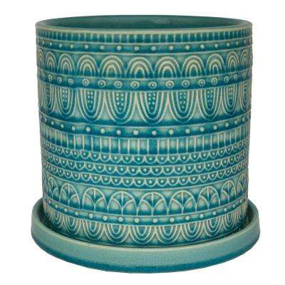 8 in. Dia Blue Ceramic Seven Seas Cylinder Pot