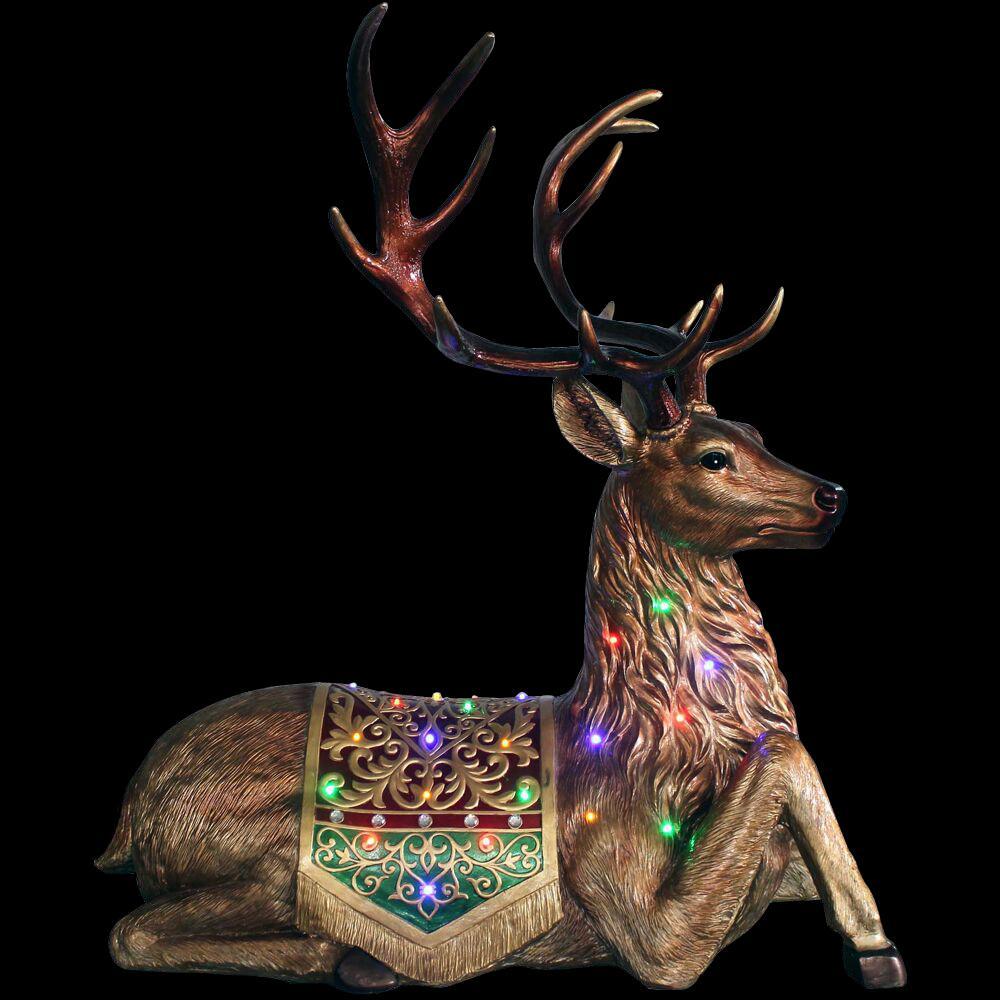 4 ft. Christmas Sitting Reindeer with Long-Lasting LED Lights and Metallic