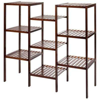 9-Tier Antique Brown Bamboo Shelf Flower Pots Holder Display Rack Outdoor Plant Stand