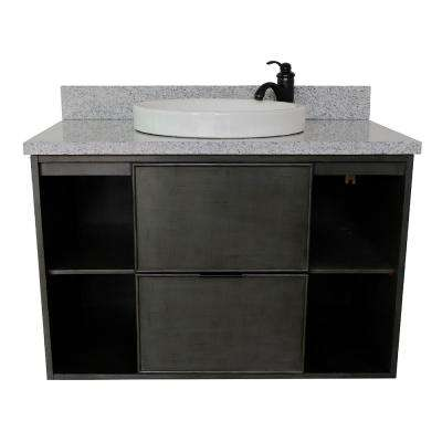 Scandi III 37 in. W x 22 in. D Wall Mount Bath Vanity in Gray with Granite Vanity Top in Gray with White Round Basin