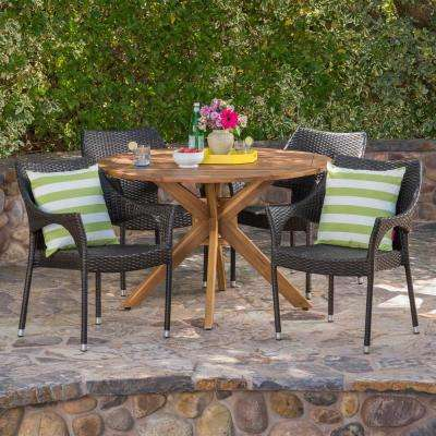 Kaleb 5-Piece Wood and Wicker Round Outdoor Dining Set with Stacking Chairs