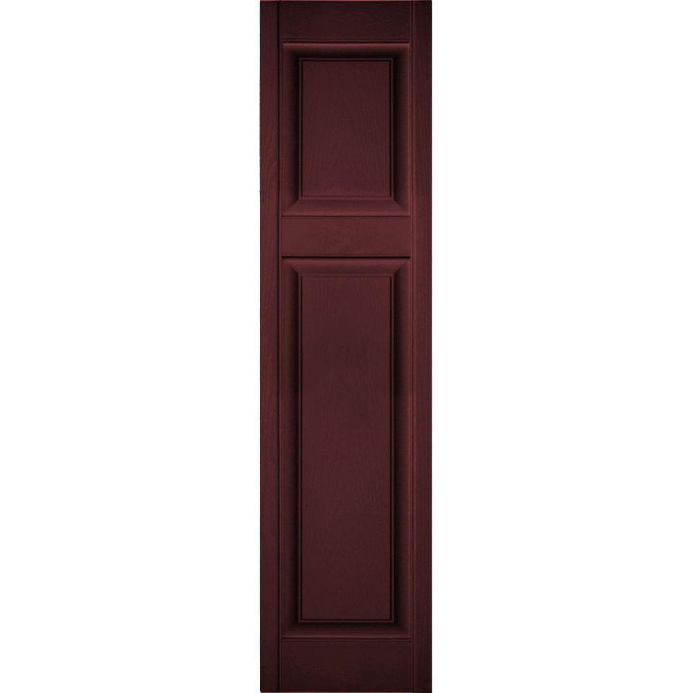 Ekena Millwork 18 In X 57 In Lifetime Vinyl Custom Offset Raised Panel Shutters Pair Bordeaux Lp3c18x05700bd The Home Depot