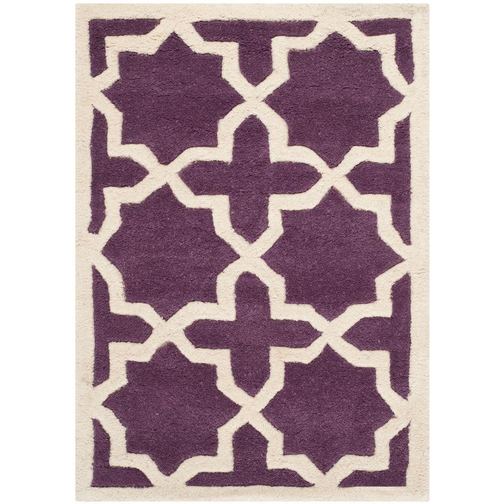Chatham Purple/Ivory 3 ft. x 5 ft. Area Rug