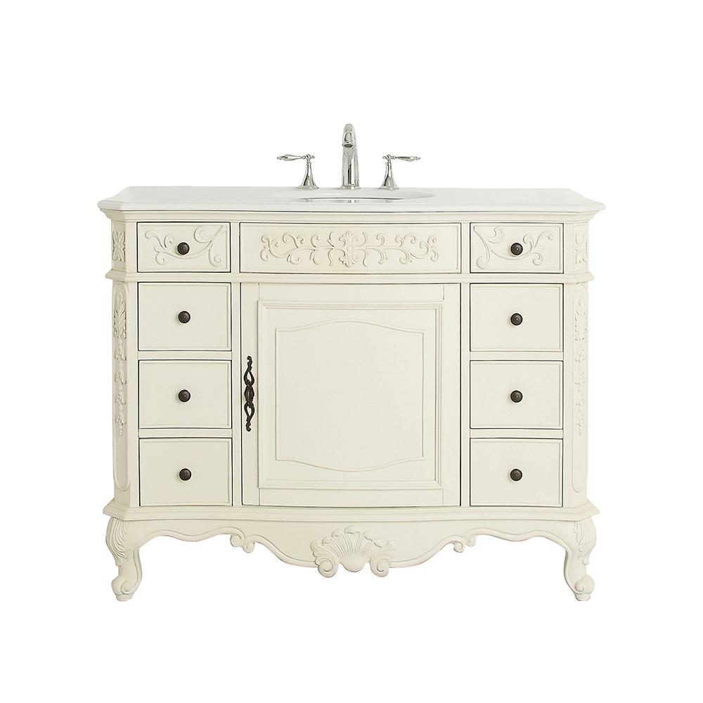 Home Decorators Collection Winslow 45 In W X 22 In D Vanity In Antique White With Marble Vanity Top In White With White Sink