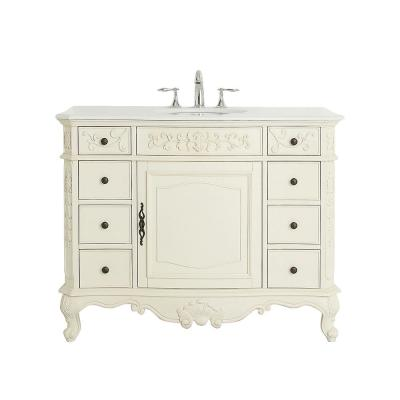 Winslow 45 in. W x 22 in. D Vanity in Antique White with Marble Vanity Top in White with White Sink