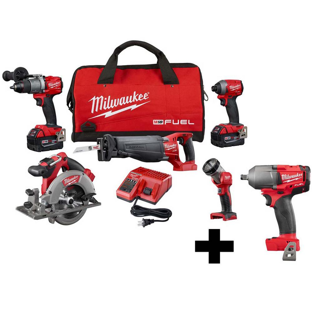 Milwaukee M18 FUEL 18-Volt Lithium-Ion Brushless Cordless Combo Kit (5-Tool) with M18 FUEL Mid Torque 1/2 in. Impact Wrench