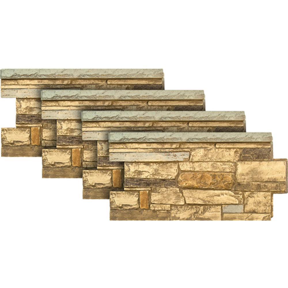 Urestone Ledgestone Wainscot #65 Mountain Country 48 in. x 24 in. Stone Veneer Panel (4-Pack)