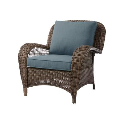 Beacon Park Brown Wicker Outdoor Patio Stationary Lounge Chair with Sunbrella Denim Blue Cushions