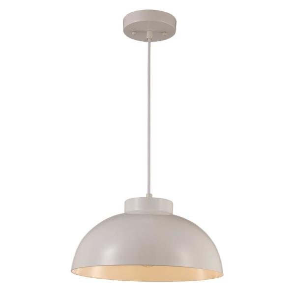 1-Light White Brushed Nickel Pendant with Shade
