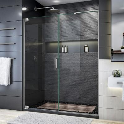 Elegance Plus 58 in. to 58 3/4 in. W x 72 in. H Frameless Pivot Shower Door in Brushed Nickel