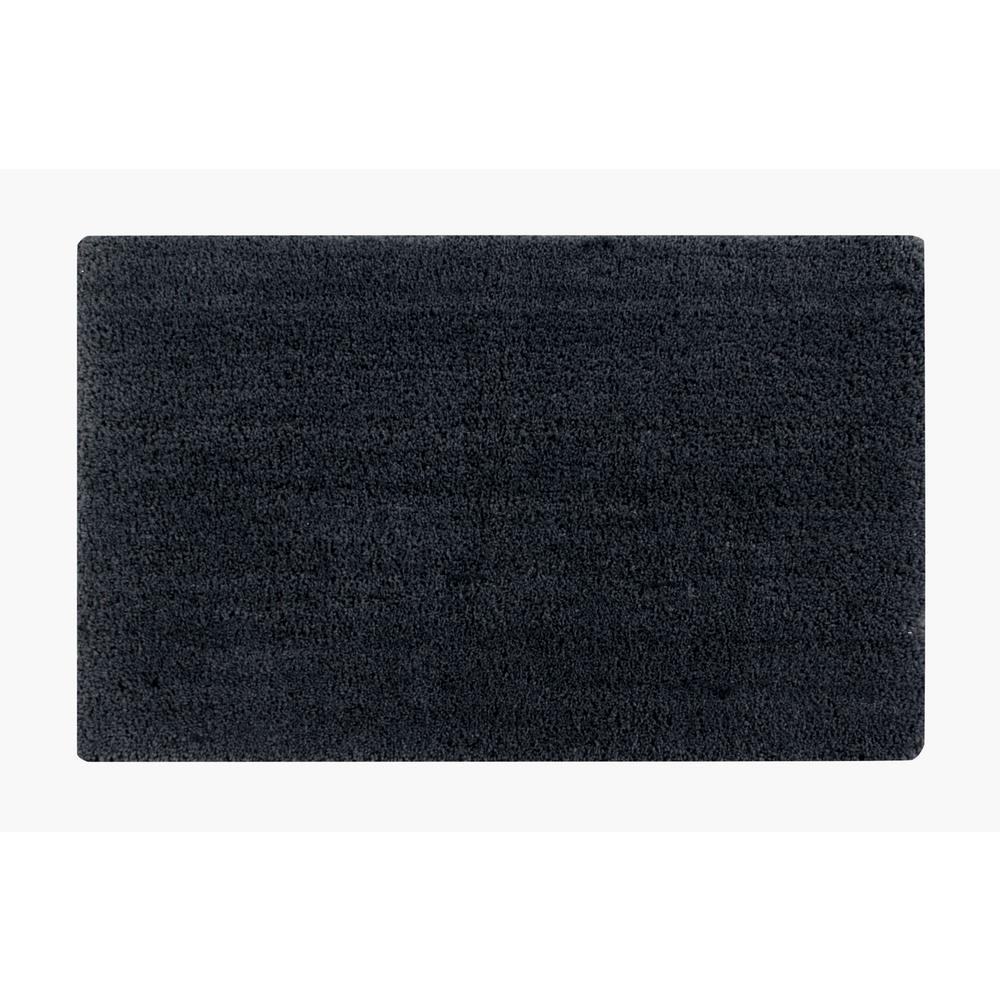 Micro Plush Charcoal 17 in. x 24 in. Cotton Bath Rug